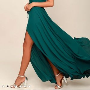 Lulus essence of style teal green maxi dress